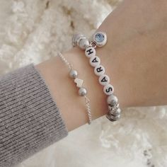 Perlenarmband grau Anker Trauzeugin Armband Geschenk Wunschfarbe