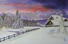 winterlandschap pastelkrijt