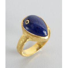 Wendy Mink Gold And Lapis Teardrop Diamond Detail Ring