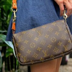 {Louis Vuitton} Monogram Pochette Accessoires % authentic monogram canvas Pochette Accessoires without a strap.  I am using a strap from my old vintage Gucci bag.  Can be used as a shoulder bag with a strap or a clutch.  It is also missing the zipper pull but it can still open and close by pushing the zipper.  Gorgeous even patina.  Will sell with strap for $225. Like all other items in my closet, 50% of proceeds go to charity all pics are mine Louis Vuitton Bags Clutches & Wristlets
