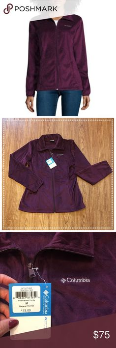 """Columbia Blustery summit full zip plum soft jacket 📦Same day shipping (as long as P.O. is open for business). ❤ Measurements are approximate. Descriptions are accurate to the best of my knowledge.  Gorgeous color plus comfy softness!? Yes please!! This super soft full zip jacket by Columbia is in a gorgeous purple/plum. It has front zipper pockets. It is made from 100% soft brushed polyester. It is machine washable. Smoke/pet free home. Flat measurements: 20.5"""" across chest, 25.25"""" long…"""