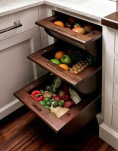 Produce drawers kitchen storage, ideas for small kitchens, tiny kitchens, food storage, kitchen spaces, fruit flies, kitchen drawers, vegetable storage, hidden fruit