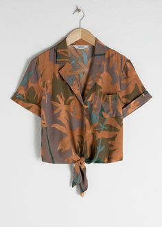 Tie Front Button Up Shirt - Tropical - Shirts - & Other Stories - > wishes < - Best Skirt Midi Wrap Skirt, Wrap Skirts, Satin Shirt, Fashion Story, Pop Fashion, Couture, Shirt Blouses, Blouses For Women, Button Up Shirts