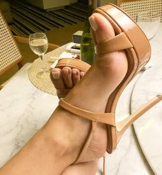 Sexy feet in nude heels