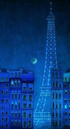 The lights of the Eiffel tower - Paris illustration Art illustration Art Poster Wall art Paris Home decor Living room art Blue Architecture Illustration Parisienne, Illustration Art, Art Blue, Color Blue, Paris Home Decor, Rhapsody In Blue, Kunst Poster, Blue Aesthetic, Shades Of Blue