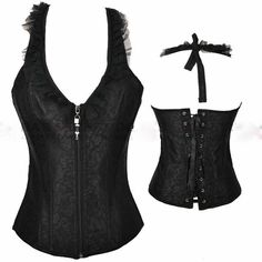 CORSET - Black Satin Ruffle Zip Front Halter Style Lace Up Back Western Corset Top