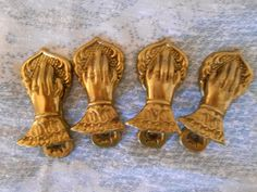 "Lot of 4 Vintage/Antique Victorian Brass Hand Claps Clips 4"" 100mm"