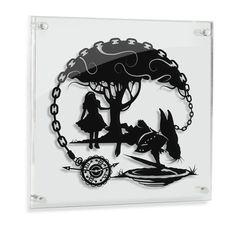 Alice in Wonderland // White Rabbit - hand cut paper art // fantasy storybook disney wall artwork silhouette paper illustration