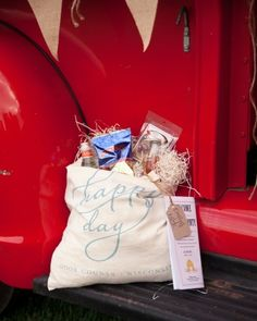 Rustic welcome bags