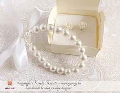 Esküvői ékszerek : Masnis-gyöngyös minimál szett