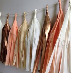 Rose gold Tassle Garland-  16 or 20 tassels, you choose- Tissue Paper garland- ANY COLOR you choose
