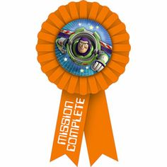 "The Toy Story Game Time Award Ribbon is a ready reward! This fun orange ribbon features a centerpiece of Buzz Lightyear, and a printing that reads ""Mission Complete"" in white lettering. Toy Story Birthday, Boy Birthday, Happy Birthday, Toy Story Game, Mission Complete, Buzz Lightyear, Disney Toys, Party Supplies, Party Themes"