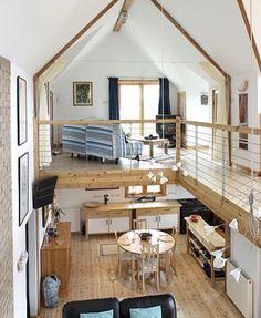 Love the loft and the decor  Tiny House Compact House, Tiny Houses, Tiny House Loft, Small Tiny House, Tiny House On Wheels, Tiny House Plans, Tiny House Living, House Floor Plans, Barn Houses