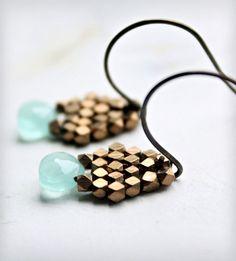 Blue Chalcedony and Brass Drop Earrings
