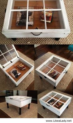 Side table made with window... could make into a shadow box
