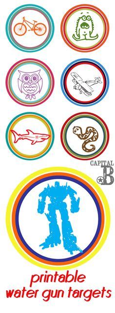 Printable water gun targets- give your kiddos something else to aim at besides you! :)