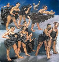 """Paula Rego """"Dancing Ostriches (diptych)"""", 1995 Pastel on paper mounted on aluminium 160 x 120 cm Paula Rego Art, Life Drawing, Painting & Drawing, Mario Cesariny, Nadir Afonso, Ostriches, Saatchi Gallery, Z Arts, Meet The Artist"""