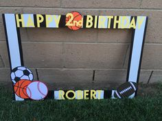 Sports Themed Photo Booth Frame by prettypartydecor on Etsy More