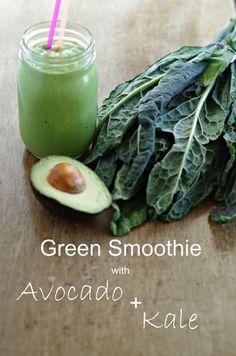 Green Smoothie with Avocado and Kale www.tasteofdivine.com