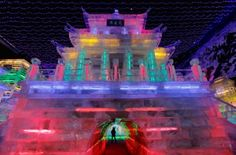 Rainbow City Made Of Ice Rainbow Ice City at Yangquing Ice Festival marking end of Lunar New Year Celebrations in Beijing - amazing!Rainbow Ice City at Yangquing Ice Festival marking end of Lunar New Year Celebrations in Beijing - amazing! Chinese Lantern Festival, Chinese Festival, Rainbow City, Ice Houses, Ice Castles, Snow Sculptures, Chinese Lanterns, Lunar New, New Year Celebration