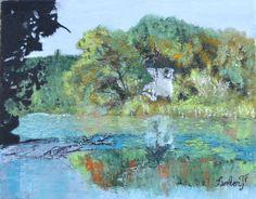 Derrière le chemin (Painting) par François Lambert Derrière le chemin Toile peinture à l'huile 22x27x2cm Voici une représentation modifiée entre une photo et l'oeuvre en elle même.  Ce lieu se situe à Culoz. Rhône Alpes  France