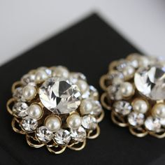 Gold Bridal Shoe Clips Swarovski Crystal Rhinestone and Pearl Round Bridal Shoe Clips Wedding Shoe Clips. ELLA on Etsy, £39.11