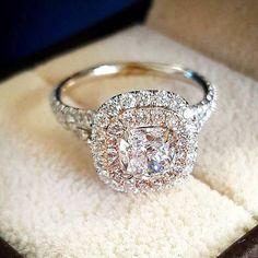 2.10 Ct Cushion Cut Diamond Ladies Engagement Wedding Ring 14K White Gold Finish #tvsjewelery #SolitaireWithAccents #EngagementAnniversaryWeddingRing