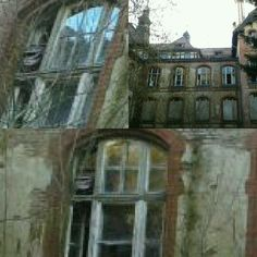 Beelitz Heilstätten, a former hospital in Germany .. and a very spooky place. What creature is looking out of the window?