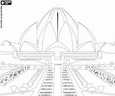 Coloriage Temple du Lotus à Delhi, Inde