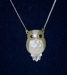 Vintage Cloisonne Gilted Owl Necklace  Chain - FREE Shipping!