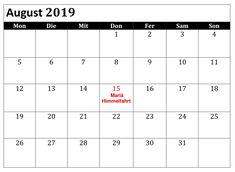 August Kalender 2019 Diagramm Mit Feiertagen August Kalender, Periodic Table, Schedule, Holiday, Printing, Diagram, Periodic Table Chart, Periotic Table