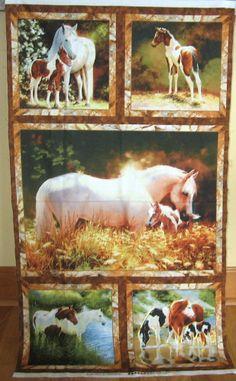 "1 Pretty ""Horses"" Fabric Panel"