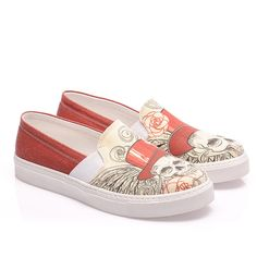 Streetfly Red & Ivory Angel Skull Slip-On Sneaker (1.007.460 VND) ❤ liked on Polyvore featuring shoes, sneakers, plus size, red sneakers, pull on sneakers, skull slip on shoes, synthetic shoes and print sneakers