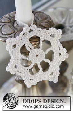 """Stella di Natale DROPS all'uncinetto, in """"Cotton Viscose"""". ~ DROPS Design"""