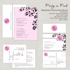 Pretty In Pink Wedding Invitations, Pale Pink & Black Wedding Invitation, Wedding Invites, Modern Monogram, Belly Band