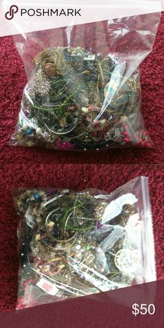Bag of broken jewerly craft purposes only Bag of 4 lbs of broken jewelry for repair only not to guarantee anything to be wearable. For jewelry making purposes only. May or may not be broken. Jewelry