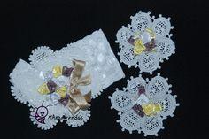 Conjuntinho de tiara e aplicações para sapatinhos infantil. mangelrendas@hotmail.com
