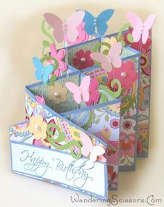 Birthday butterfly cascade card made with CTMH paper, stamps and cricut cartridge.