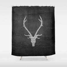 Shower Curtain - Deer Antler Shower Curtain - Antler Decor - Rustic Decor…