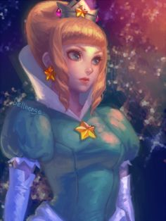 Princess Rosalina [Super Mario Galaxy] ---gif animation --- Princess Rosalina --- Rosalina early design --- Peach ANIMATION (gif) Tumblr I forbid reposting my art without the source.
