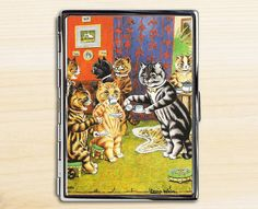 Cat Tea Party Cigarette Case, Cigarette Holder, Cigarette Case, Metal Cigarette Case, Cigarette Box, Cat Lover Gift, Louis Wain, Cat Gifts by KromaSoul on Etsy
