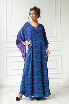 Forest Fairy silk long dress, Floaty ethno art zigzag caftan, Indigo cocktail dress, Natural silk loose fitting dress, Plus size silk gown