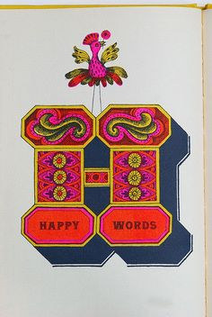 "Happy Words by Letterologist, via Flickr. From 1962 ""Books!"" bt Murray McCain. Illustration by John Alcorn"
