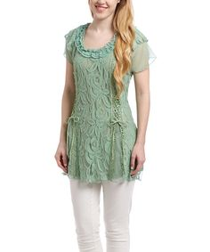 Pretty Angel Light Green Lace Linen-Blend Cap-Sleeve Tunic | zulily
