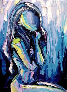 Nude oil painting abstract figure impasto by SagittariusGallery, $52.00