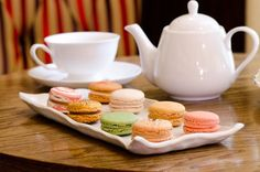 Bosie Tea Parlor, NYC.  Tea and Macarons, a beautiful photo taken by Antoinette Bruno, Editor-in-Chief of StarChefs.com