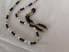 Napier Beaded Necklace Bracelet Faux Pearls Black Gold Tone Beads  #Napier #Beaded