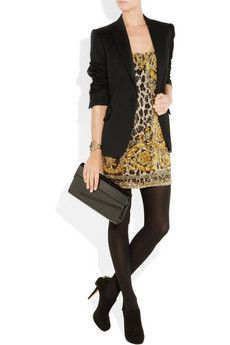 Versace- Paillette embellished printed dress, on, with a Stella McCartney blazer, Emilio Pucci bracelet, Wolford tights, Gucci shoes, and a Jimmy Choo clutch