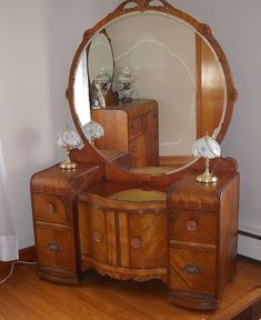 ART DECO WATERFALL VINTAGE -VANITY DRESSER WITH MIRROR, VANITY DRESSER & ARMOIRE #ArtDeco