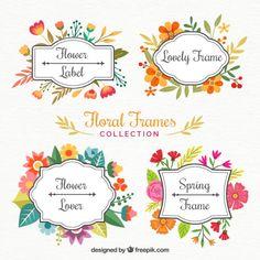 flores quadros bonitos pintadas com aguarelas Vetor grátis
